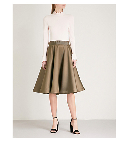 TED BAKER Zadi frill-detail knit and satin dress (Khaki
