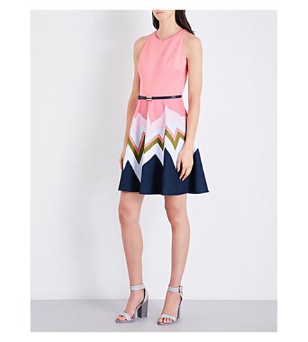 TED BAKER Mississippi zig zag-print skater dress (Coral
