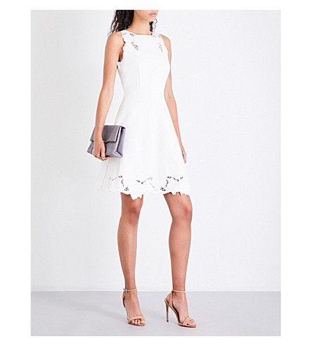 TED BAKER Emmona floral-embroidered jersey dress (Ivory