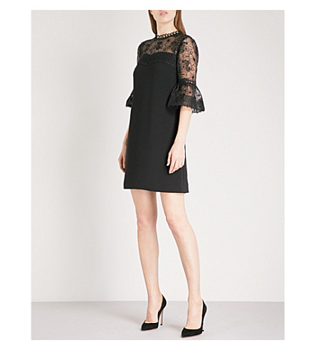 TED BAKER Raechal floral-lace and crepe mini dress (Black