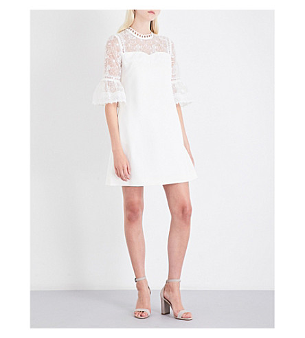 TED BAKER Raechal floral-lace and crepe mini dress (Ivory