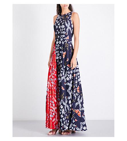 TED BAKER Saskae floral-print maxi dress (Navy