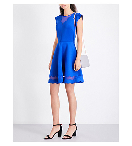 TED BAKER Scallop-detail skater dress (Bright+blue