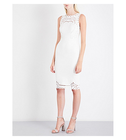 TED BAKER Verony cutwork stretch-crepe skater dress (Cream