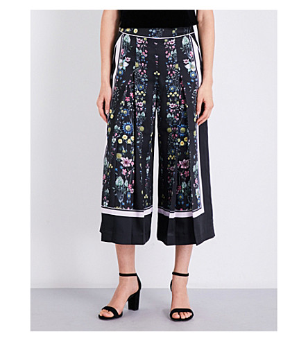 TED BAKER Unity floral-print satin-twill culottes (Black