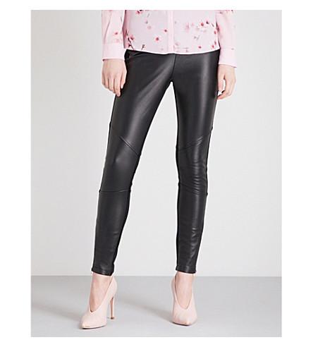 TED BAKER Panelled leather leggings (Black