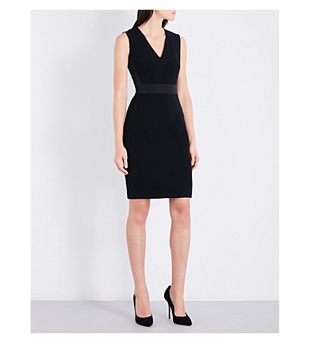 TED BAKER Ottoman V-neck woven dress (Black