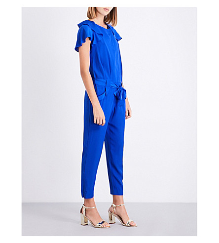TED BAKER Steffea draped-sleeve crepe jumpsuit (Bright+blue
