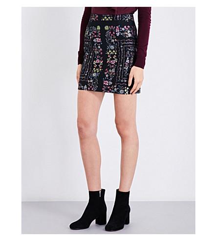 TED BAKER Unity floral-print woven skirt (Black