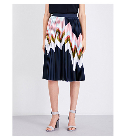 TED BAKER Mississippi zig zag-print pleated skirt (Navy