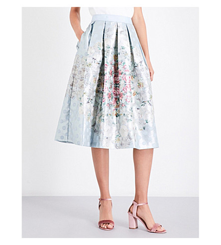 TED BAKER Kikey metallic-jacquard skirt (Pale+blue
