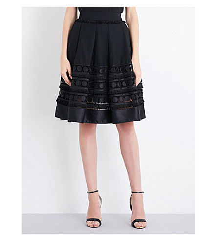 TED BAKER Laccey lace-panel crepe skirt (Black