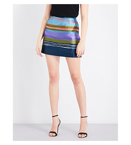 TED BAKER Striped high-rise jacquard skirt (Navy