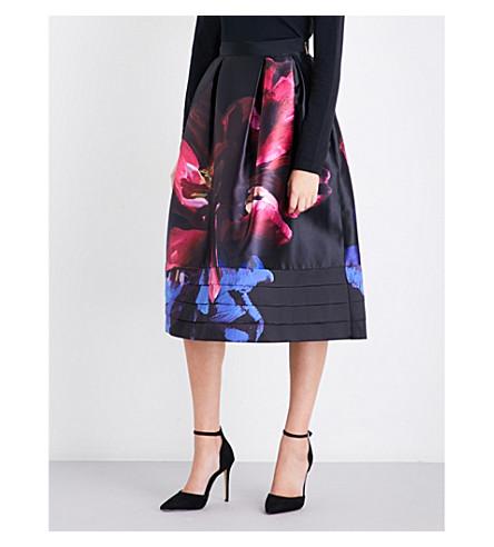 TED BAKER Impressionist Bloom satin-twill A-line skirt (Black