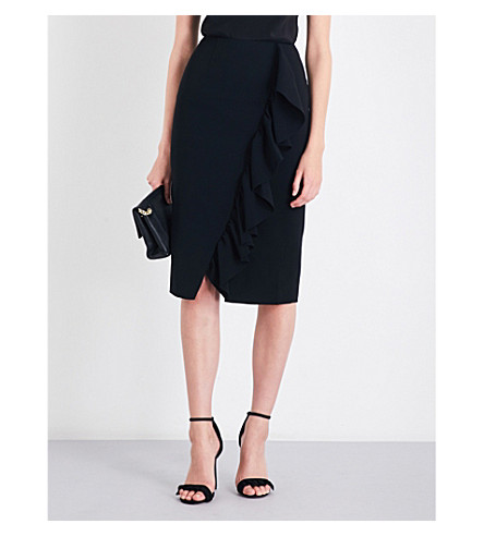 TED BAKER Ruffle-detail woven pencil skirt (Black