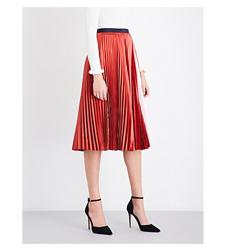 TED BAKER Osla high-rise contrast-pleat satin skirt (Brick+red