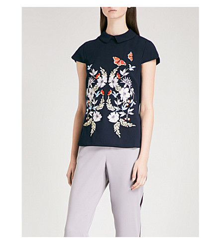TED BAKER Enora floral-embroidered woven top (Mid+blue