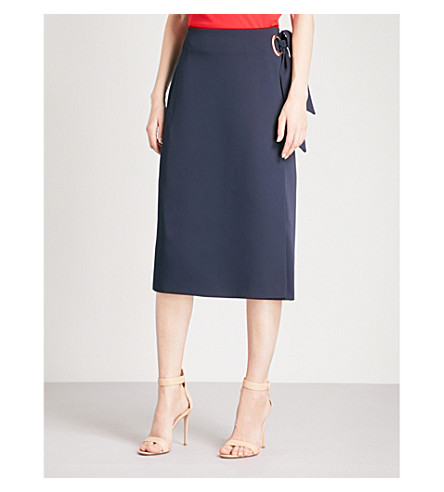 TED BAKER Teea metal-eyelet wrap skirt (Navy