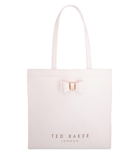 TED BAKER Bethcon bow patent tote (Dusky+pink