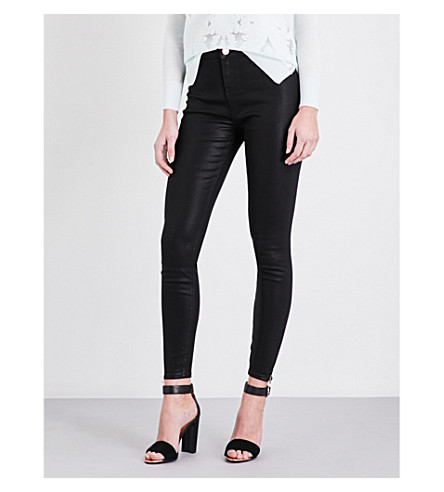 TED BAKER Aissats wax-coated skinny mid-rise jeans (Black