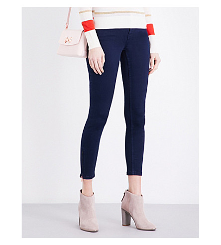 TED BAKER Super skinny zipped-detail jeans (Navy