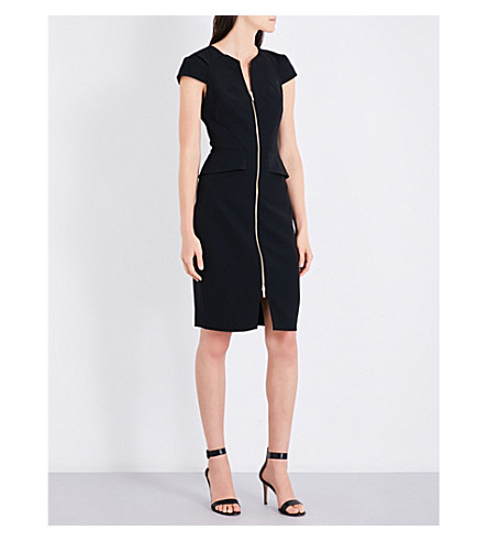 TED BAKER V-neck zip-front woven dress (Black
