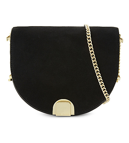TED BAKER Flossi leather and suede mini cross-body bag (Black