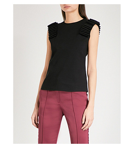 TED BAKER Isana cotton-jersey top (Black