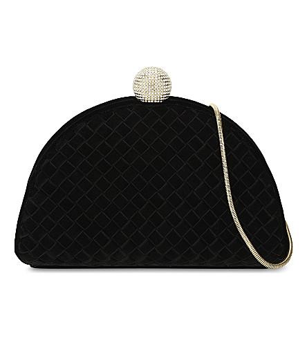 TED BAKER Embellished crystal bobble quilted velvet shoulder bag (Black
