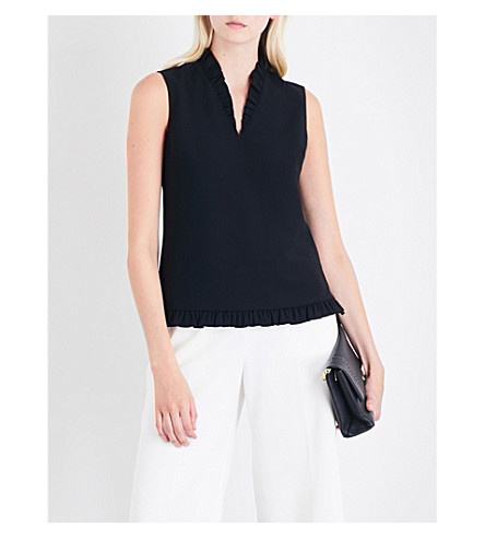TED BAKER Sleeveless frill-detail crepe top (Black