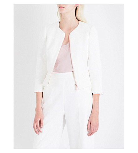 TED BAKER Scallop-detail tweed and woven jacket (Ivory