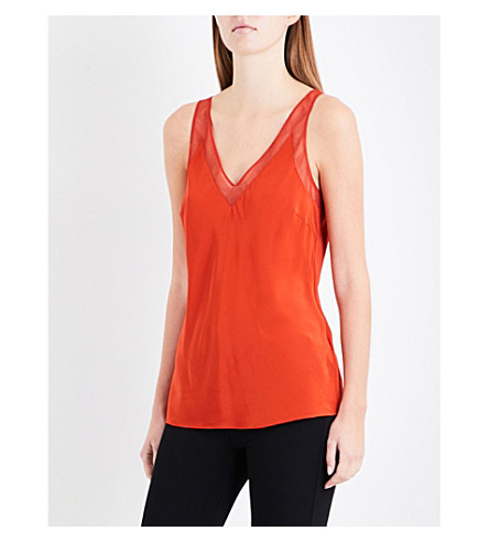 TED BAKER Leiaa mesh-trim silk-satin top (Brick+red