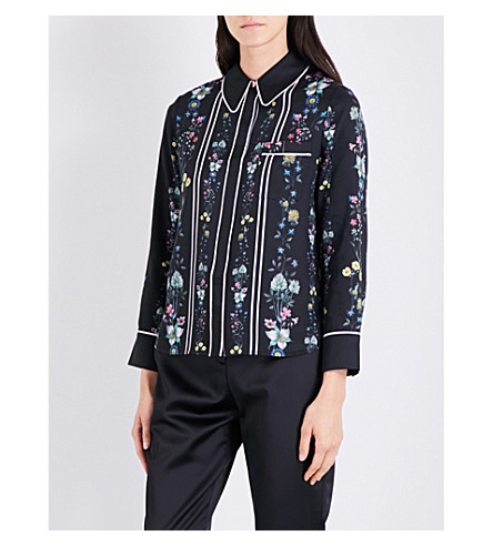 TED BAKER Floral and stripe-print satin-twill shirt (Black