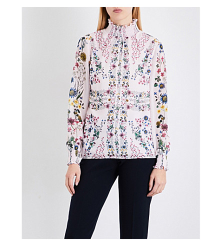 TED BAKER Unity floral-print chiffon blouse (Nude+pink