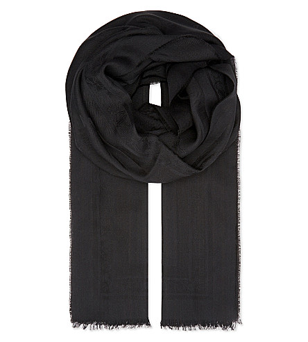 TED BAKER Aubre jacquard-bow wool-silk scarf (Black