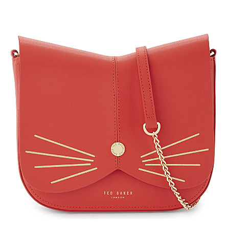TED BAKER Kittii cat-motif faux-leather cross-body bag (Bright+red