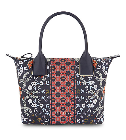 TED BAKER Koda floral small tote bag (Mid+blue