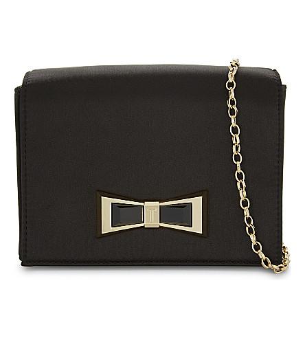 TED BAKER Bow detail satin cross-body bag (Black