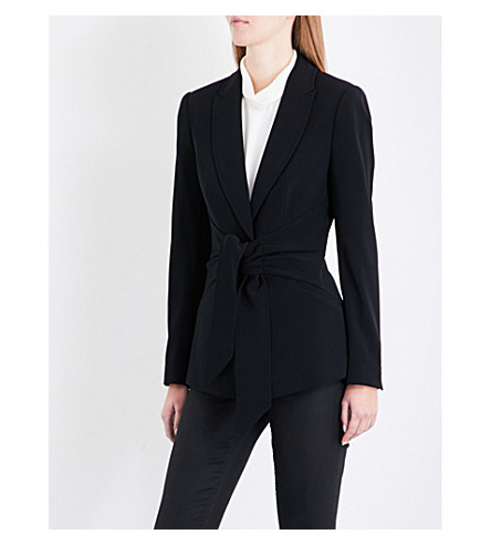 TED BAKER Wrap-waist crepe suit jacket (Black