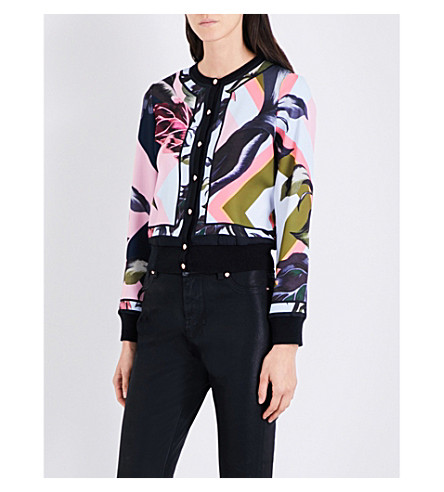 TED BAKER Mississippi woven floral-print cardigan (Navy