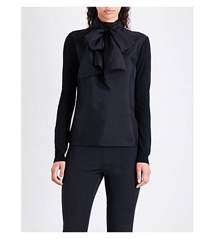 TED BAKER Babri pussybow silk and knitted top (Black