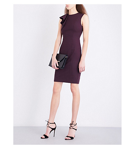 TED BAKER Suriad Frill Shoulder woven pencil dress (Maroon