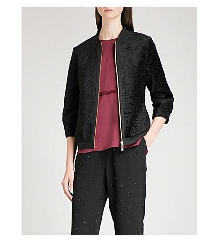 TED BAKER Bartel heart-motif velvet bomber jacket (Black