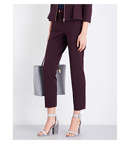 TED BAKER Suriat tapered high-rise crepe trousers (Maroon
