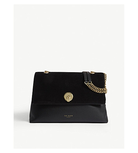 TED BAKER Suede circle lock shoulder bag (Black