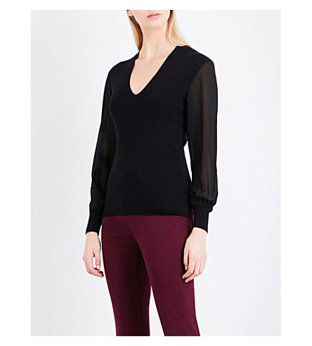 TED BAKER Sheer-sleeve knitted jumper (Black