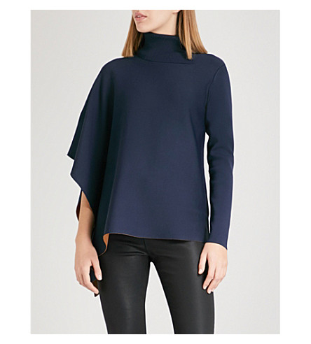 TED BAKER Bryte turtleneck asymmetric knitted cape (Navy