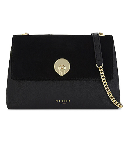 TED BAKER Sorikai leather and suede cross-body bag (Black