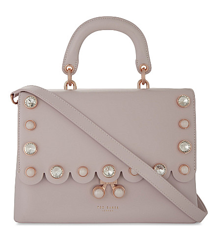 TED BAKER Sylviaa pearl-embellished leather lady bag (Dusky+pink