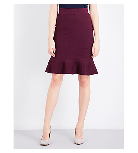 TED BAKER Flared-hem knitted skirt (Maroon